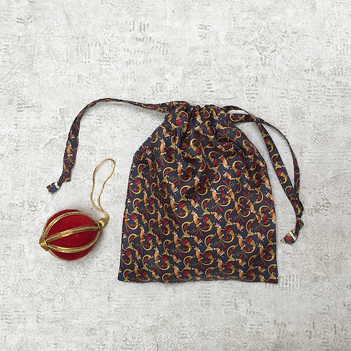 smallbag unique soie imprimé renards / unique printed silk bag