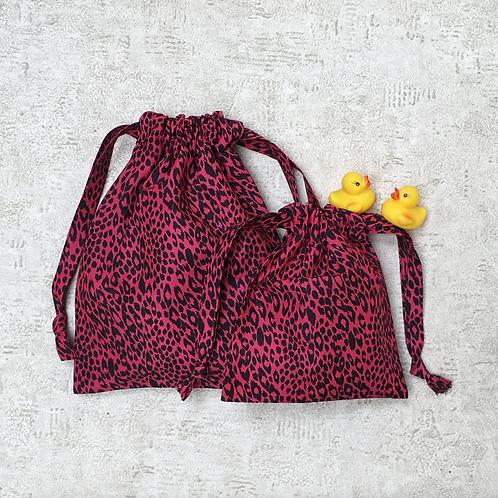 smallbags fushia imprimé panthère - 2 tailles / pink panther bags - 2 sizes