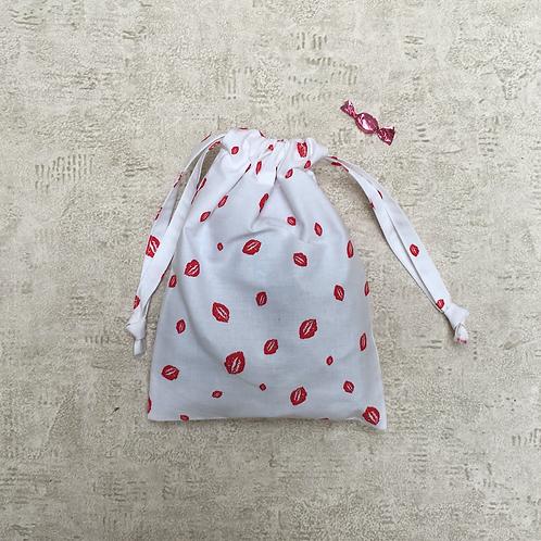 smallbag unique imprimé bouches rouges / unique mouth printed white cotton bag