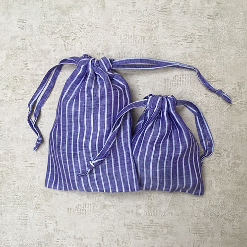 kit 2 smallbags en lin bleu roi / royal blue linen 2 bags kit