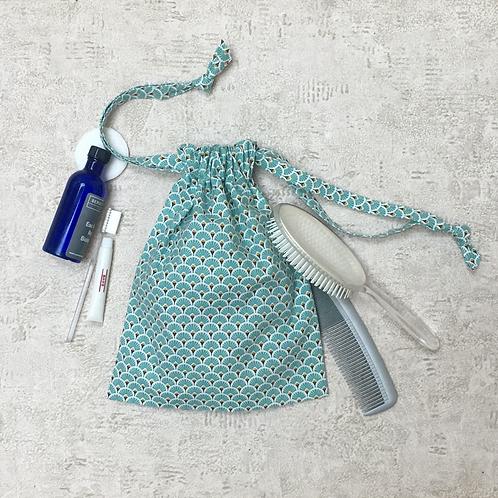 smallbags imprimés éventail - 2 tailles / printed cotton fabric bags - 2 sizes
