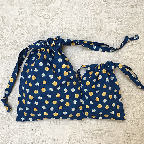 smallbags  fleuris bleu / flowered blue cotton bags