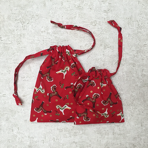 smallbags coton imprimé noël - 2 tailles / printed cotton xmas bags - 2 sizes