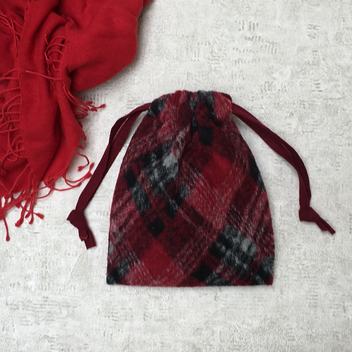 smallbag en lainage rouge doublé / woolen red fabric lined bag