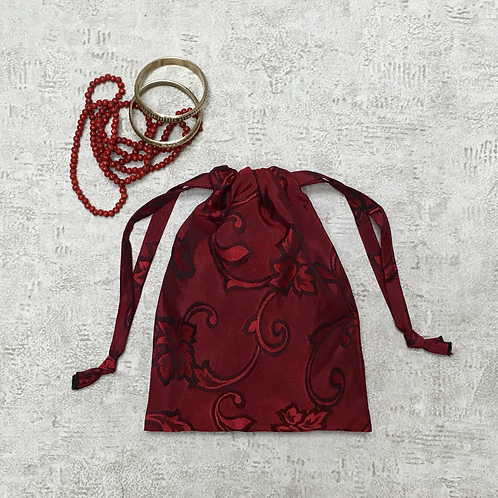 small bag roux imprimé foncé / unique printed dark red bag