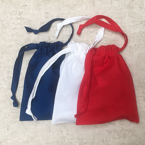 kit 3 smallbags bleu blanc rouge / french kit - 3 bags - cotton