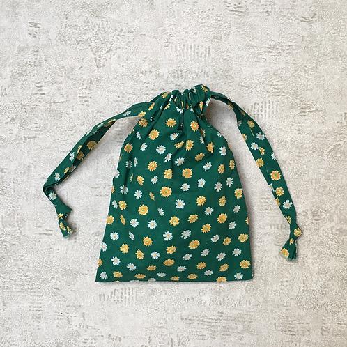 kit unique 2 smallbags fleuris verts / unique flowered green cotton 2 bags kit