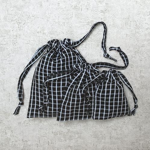 kit 3 smallbags voile de coton doublé de soie / cotton veil silk lined kit