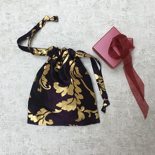 smallbag unique violet imprimé or  / unique purple and gold bag
