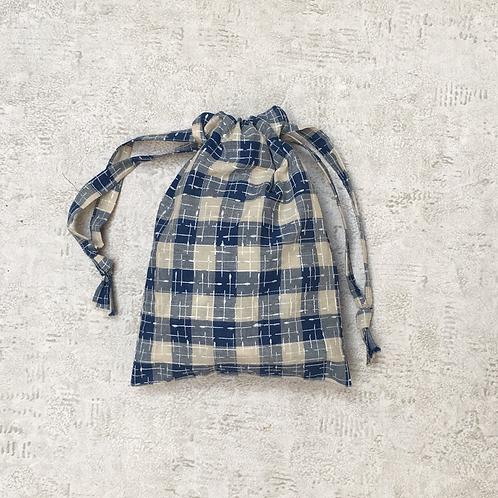 smallbag coton japonais beige et bleu / japonese cotTon fabric blue & ivory