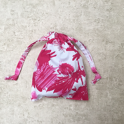 smallbag unique imprimé fushia / unique white and pink printed cotton bag