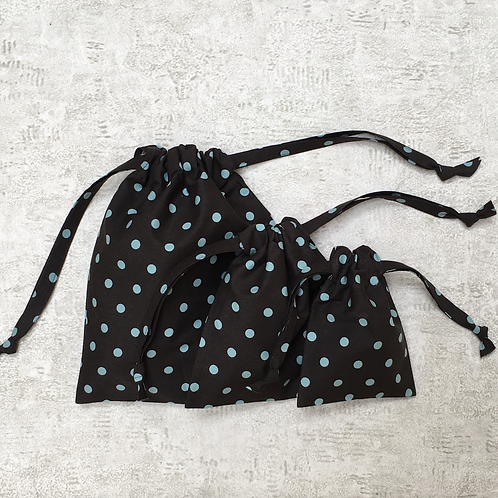 smallbags à pois vert pastel - 3 tailles / polka dot bags - 3 sizes