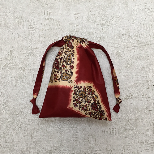smallbag unique tissu indien tons roux / unique red tones indian fabric bag