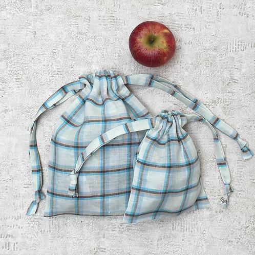 smallbags en lin à carreaux - 2 tailles / linen bags - 2 sizes