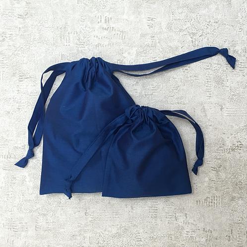 smallbags bleus unis - 2 tailles  / plain blue cotton bags - 2 sizes