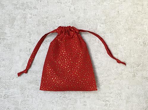 smallbags imprimés étoiles dorées - 2 tailles / red cotton printed golden stars