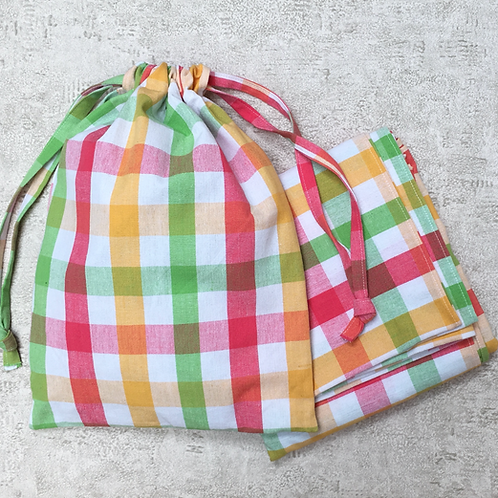 kit pique-nique, baluchon, nappe & 2 smallbags / picnic kit, table cloth+ 3 bags