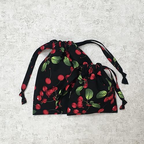 kit 2 smallbags imprimé cerises  - 2 tailles / cherries print kit