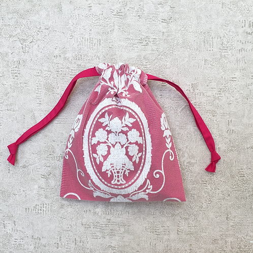 smallbag dentelle blanche doublé voile fuchsia / white lace and cotton vei