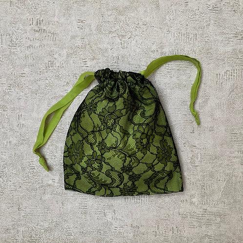smallbag unique dentelle doublée de voile - black lace lined > cotton veil