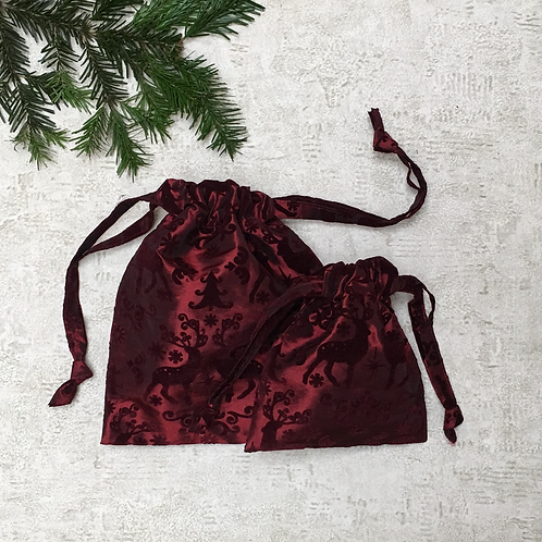 smallbags de noël motifs cerfs - 2 tailles / printed cotton xmas bags - 2