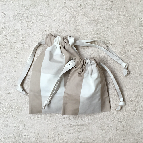 smallbags en coton type nappe - 4 tailles / cotton tablecloth bags - 4 size