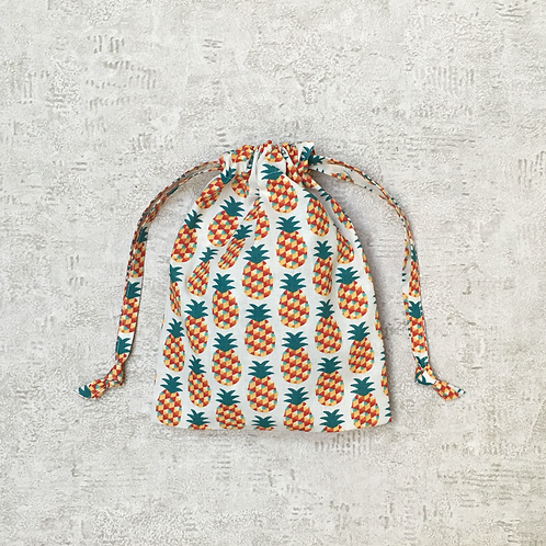 smallbags coton imprimé ananas - 2 tailles / printed cotton bags - 2 sizes