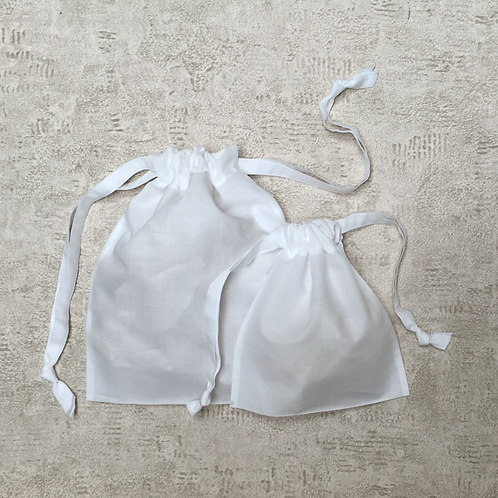 smallbags en voile de coton - 2 tailles / cotton veil bags - 2 sizes