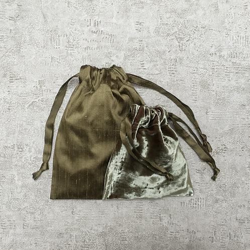kit unique 2 smallbags en velours et soie sauvage / unique kit 2 smallbags