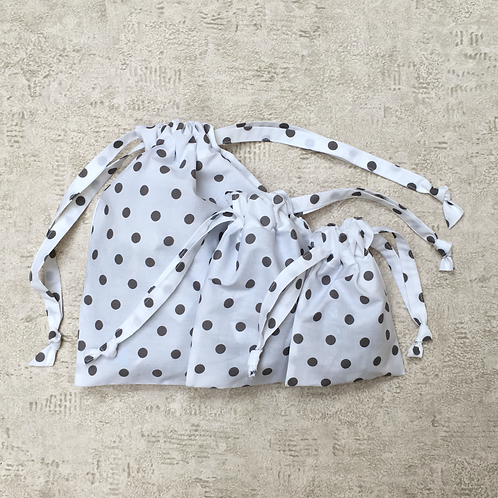 smallbags à pois blancs - 3 tailles / white polka dot bags - 3 sizes
