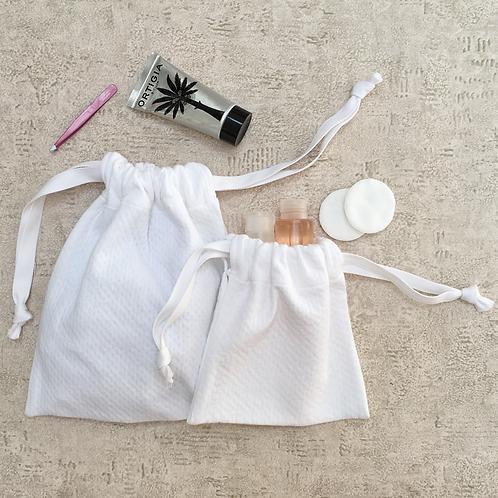 smallbags piqué de coton blanc - 2 tailles / stitched cotton bags - 2 sizes