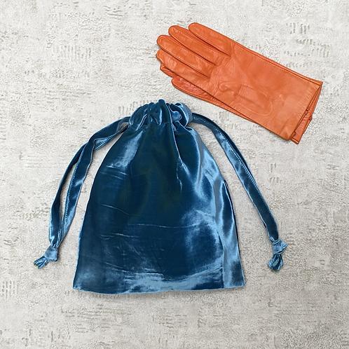 smallbags velours lisse changeant / blue velvet reflecting green bag