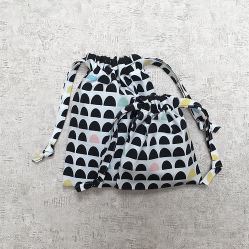 kit 2 smallbags toile épaisse imprimée /  kit 2 printed fabric bags