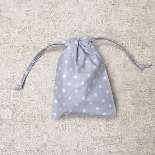 smallbags gris à pois blancs - 2 tailles / grey cotton white peas bags - 2 sizes