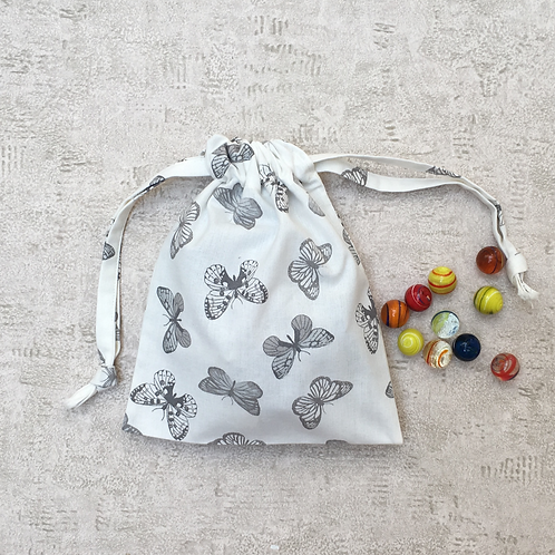 small bag unique imprimé papillon gris / grey butterflies printed fabric