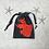 Thumbnail: smallbag unique noir & poisson rouge / unique black & red fish cotton bag