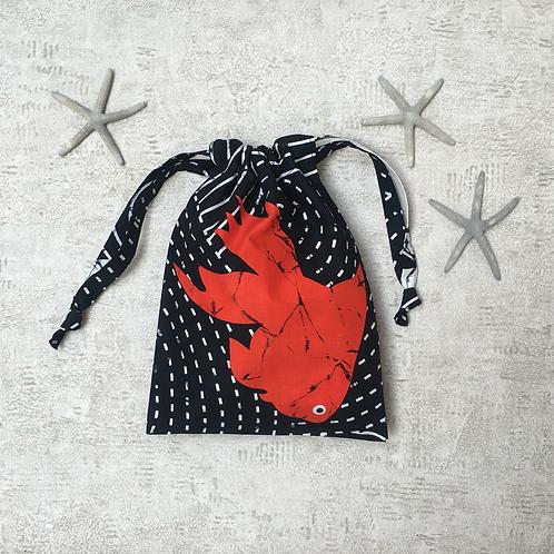 smallbag unique noir & poisson rouge / unique black & red fish cotton bag