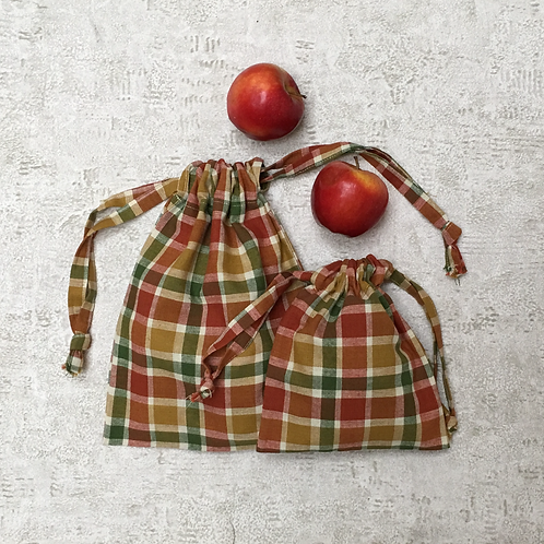 smallbags carreaux roux  - 2 tailles / cotton fabric bags - 2 sizes