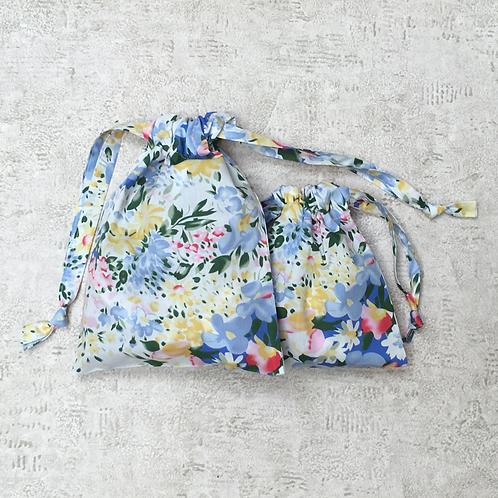 kit 2 smallbags fleuris - 2 tailles / 2 flowered cotton bags kit - 2 sizes