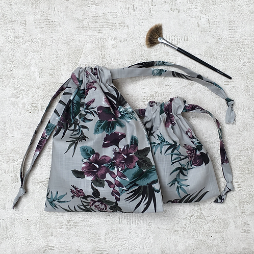smallbags imprimé gris  - 2 tailles / grey flowered cotton fabric bags - 2 sizes