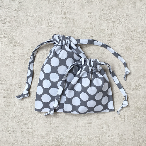 kit 2 smallbags à pois - 2 tailles / 2 polka dot cotton kit - 2 sizes