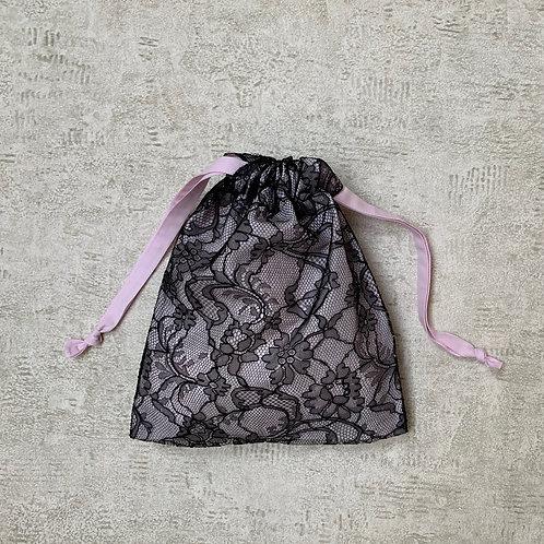 smallbag unique dentelle doublée de voile - black lace lined > cotton veill