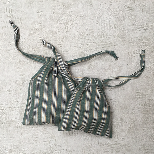 kit unique 2 smallbags verts rayures / unique stripped green cotton 2 bags kit