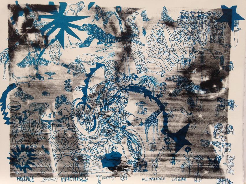 """Lithographie réalisée à l'atelier Item à l'occasion d'un workshop du Palais de tokyo avec les jeunes sous protection judiciaire. Cette lithographie a été éditée au format carte postale pour faire partie du coffret """"tous nos voeux"""".  Elle fera également partie du portfolio en cours de réalisation."""