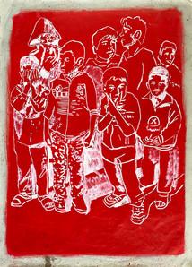 Huile sur papier macule   105x77 cm
