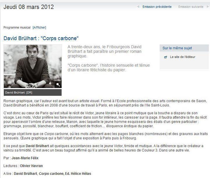 Entre les lignes, émission littéraire Espace 2, 8 mars 2012