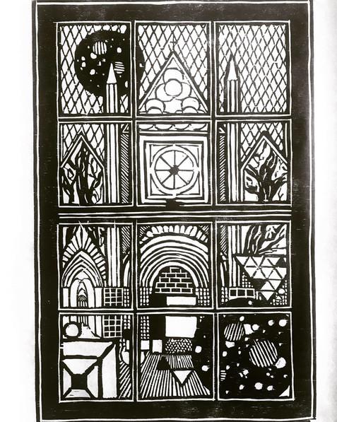 Hand-Printed Brainstorm Woodblock