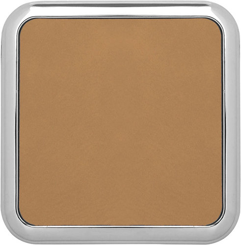 Square Leather Coaster with Metal Edge