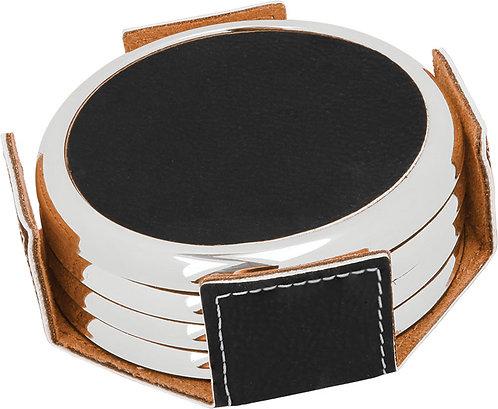 Round Leather 4 Coaster Set with Metal Edge