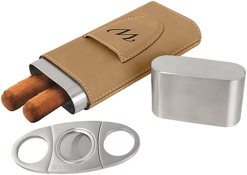 Leather Cigar Holder with Cutter